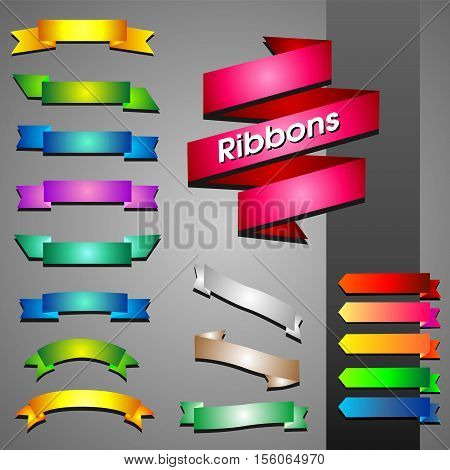 Vector set of multicolored ribbons for design on a gray background