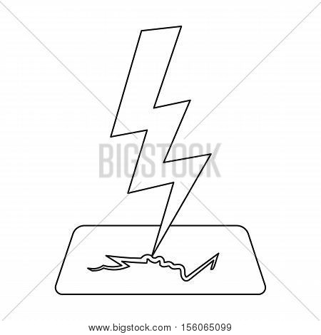 Lightning bolt icon in outline style isolated on white background. Weather symbol vector illustration.