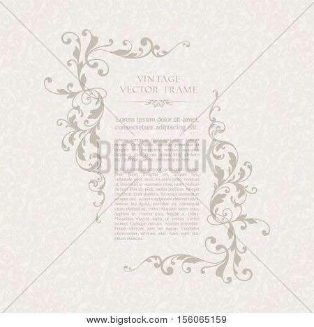 Vintage elegant template with seamless pattern and ornamental frame. Design for wedding invitation, greeting card with calligraphic elements