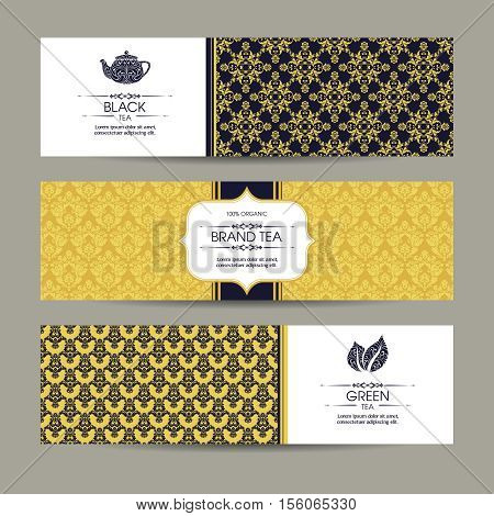 Vector set of templates packaging tea, label, banner, poster, identity, branding. Ethnic pattern background with ornamental design elements - leaf icon, teapot. Stylish design for black and green tea