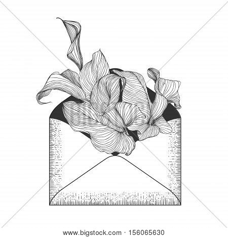 Envelope With Calla Flowers.