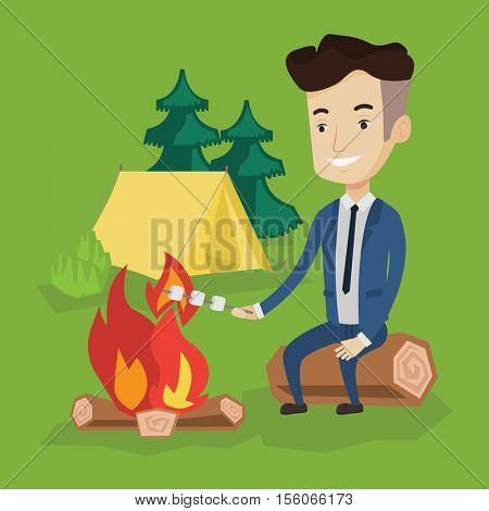 Happy young businessman in a suit sitting on a log near campfire and roasting marshmallow over campfire on the background of camping site with tent. Vector flat design illustration. Square layout.
