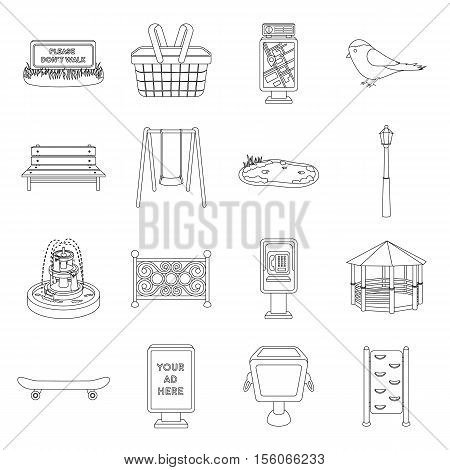Park set icons in outline style. Big collection of park vector symbol stock