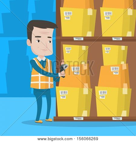 Warehouse worker scanning barcode on box. Warehouse worker checking barcode of boxes with a scanner. Caucasian warehouse worker working with a scanner. Vector flat design illustration. Square layout.