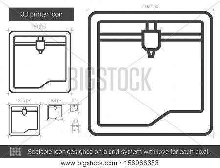Three D printer vector line icon isolated on white background. Three D printer line icon for infographic, website or app. Scalable icon designed on a grid system.