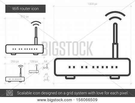 Wifi router vector line icon isolated on white background. Wifi router line icon for infographic, website or app. Scalable icon designed on a grid system.
