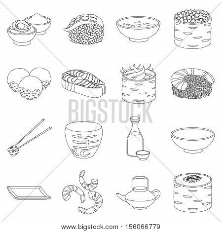Sushi set icons in outline style. Big collection of sushi vector symbol stock