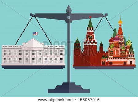 Vector flat style scales. The White House Washington on one side and the Moscow Kremlin, St. Basil's Cathedral on the other.The conflict between America and Russia. The concept of balance in relationships. Vector illustration