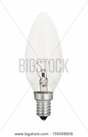 Traditional, classic tungsten light bulb isolated on white background.