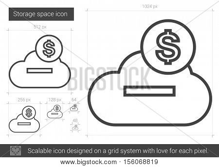 Storage space vector line icon isolated on white background. Storage space line icon for infographic, website or app. Scalable icon designed on a grid system.