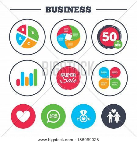 Business pie chart. Growth graph. Valentine day love icons. I love you ring symbol. Couple lovers sign. Love story speech bubble. Super sale and discount buttons. Vector
