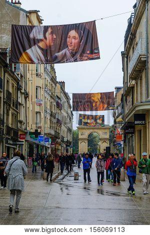 Main Street (rue De La Liberte) Scene In Dijon
