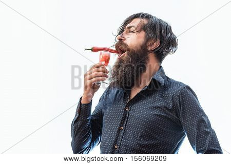 Bearded Man With Alcoholic Cocktail