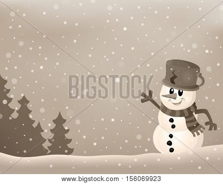 Stylized winter image with snowman 2 - eps10 vector illustration.