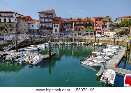 Llanes Spain- August 24 2016: Pleasure boats in port in the Llanes Asturias Spain.