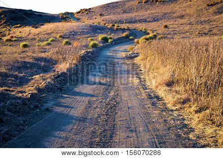 Dirt road through a dry arid field taken in drought stricken California