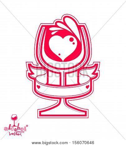 Vector goblet, alcohol drink theme illustration. Elegant wineglass with decorative pattern winery emblem