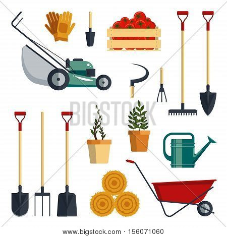 Set of farm tools flat - vector illustration. Garden instruments icon collection isolated on white background. Farming equipment.