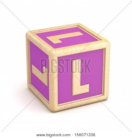 Letter L Wooden Alphabet Blocks Font Rotated. 3D