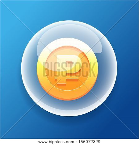 Vector Game Icon Bubble Gold Coin Money Bonus Ruble