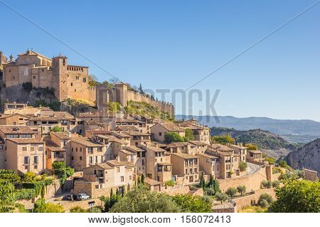Mountian Village Alquezar In The Pyrenees