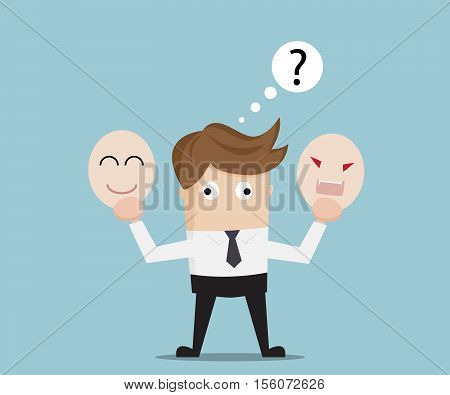 Businessman Confused for Select Angry or Happy Mask Business Concept Cartoon Vector Illustration