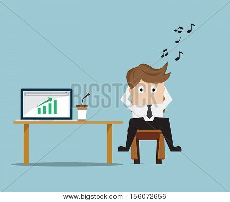 Businessman Relaxing with Up Green Graph on Laptop Business Concept Cartoon Vector Illustration