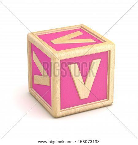 Letter V Wooden Alphabet Blocks Font Rotated. 3D