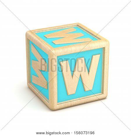 Letter W Wooden Alphabet Blocks Font Rotated. 3D