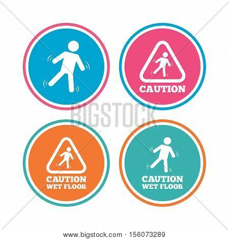 Caution wet floor icons. Human falling triangle symbol. Slippery surface sign. Colored circle buttons. Vector