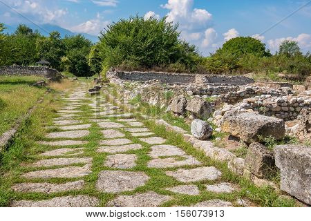 Ruins and old road at the Archaeological Park of Dion. Pieria Macedonia Greece