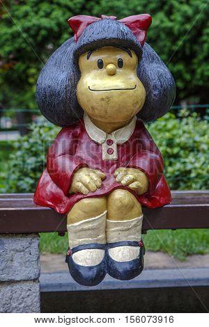 Oviedo Spain - August 25 2016: Mafalda Sculpture in San Francisco Park in Oviedo (Asturias) Spain