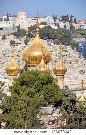 JERUSALEM ISRAEL 25 11 16: Gold Domes of church is dedicated to Mary Magdalene. According to the16th chapter of the gospel of Mark, Mary Magdalene was the first to see Christ after his resurrection