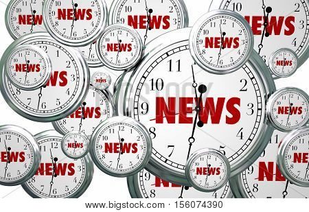 News Around the Clock Time Flying Word 3d Illustration