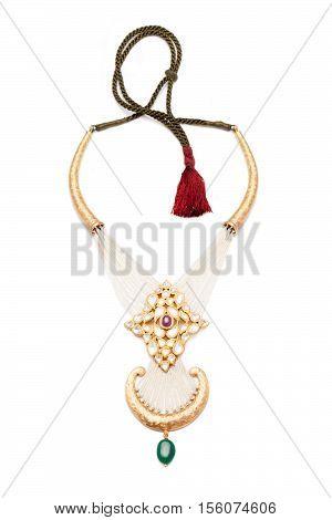 Close up of Diamond Necklace white background