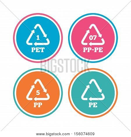 PET 1, PP-pe 07, PP 5 and PE icons. High-density Polyethylene terephthalate sign. Recycling symbol. Colored circle buttons. Vector