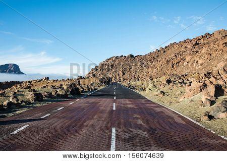 Lunar landscape on the road in the Las Minas de San Jose, Tenerife, Spain