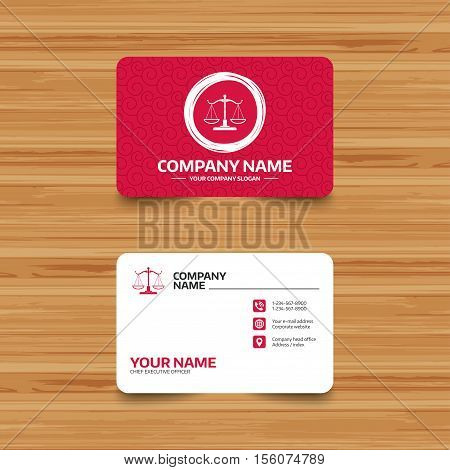 Business card template with texture. Scales of Justice sign icon. Court of law symbol. Phone, web and location icons. Visiting card  Vector