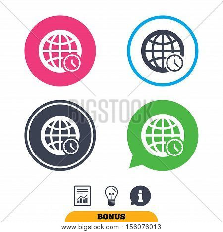World time sign icon. Universal time globe symbol. Report document, information sign and light bulb icons. Vector
