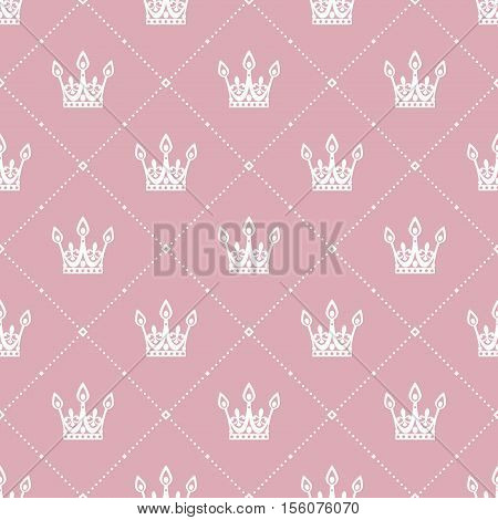 Seamless pattern in retro style with a white crown on a pink background. Can be used for wallpaper pattern fills web page background surface textures. Vector Illustration