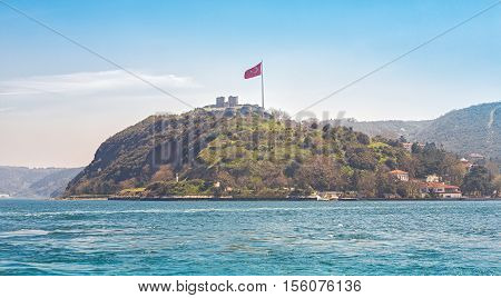 The ruins of the destroyed fortress on the confluence of the Bosphorus and the Black Sea near Anadolukavagy