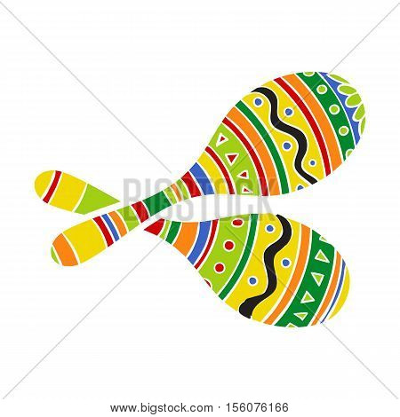 Pair of traditional Mexican brightly colored maracas or rumba shakers, vector illustration isolated on white background. Couple of hand drawn Mexican maracas