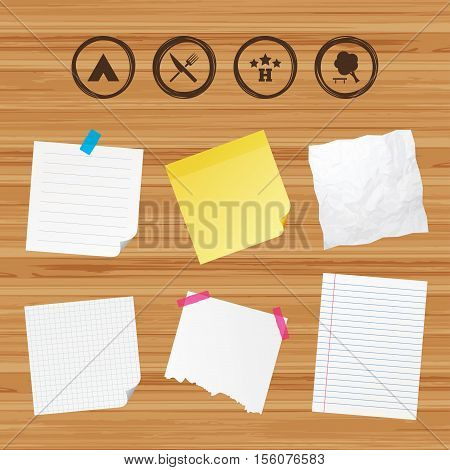 Business paper banners with notes. Food, hotel, camping tent and tree icons. Knife and fork. Break down tree. Road signs. Sticky colorful tape. Vector