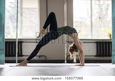 Woman Doing Yoga Exercises In Gym, Sport Fitness Girl Training Stretching Studio