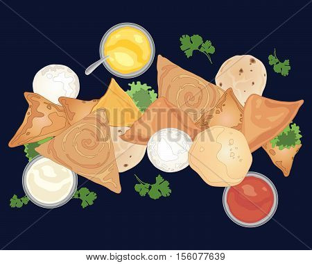 an illustration of indian foods and dips including samosas and breads on a dark blue background