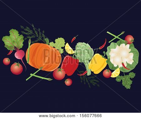 an illustration of a selection of colorful home grown vegetables on a dark blue background