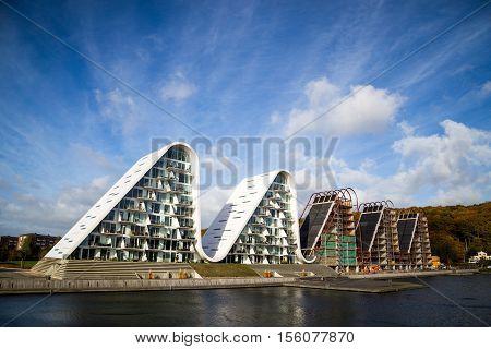 Vejle, Denmark - October 29, 2016: The wave, a modern residential house design by Henning Larsen Architects