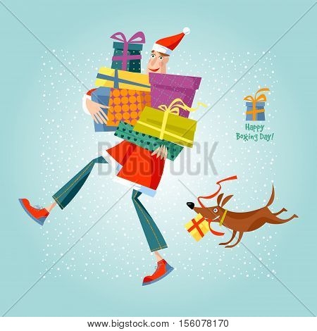Happy Boxing Day! Man in Santa Claus suit holding a pile of gifts. Vector illustration