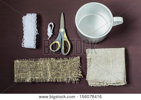 Burlap eco-decor. Homemade making of decor of burlap and lace for aluminum mug. DIY concept. Step by step photo instructions. Step 1. Preparation of materials and tools