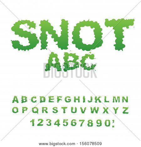 Snot font. Snivel alphabet. Green slime letters. Booger ABC. Slippery lettering. Mucus typography